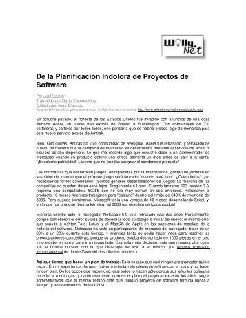 De la Planificación Indolora de Proyectos de Software - Willy .Net
