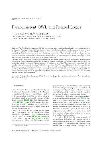 Paraconsistent OWL and Related Logics - Semantic Web Journal