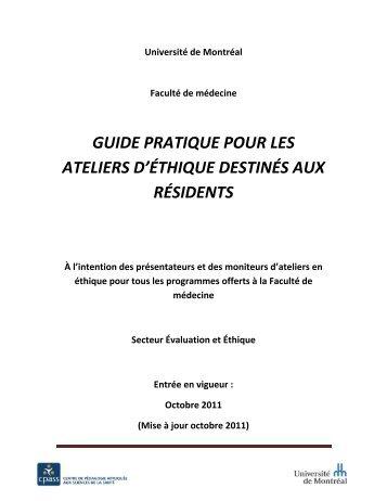 Guide des ateliers éthique - CPASS - Université de Montréal