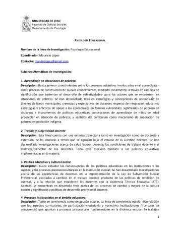 Psicología Educacional - Facultad de Ciencias Sociales