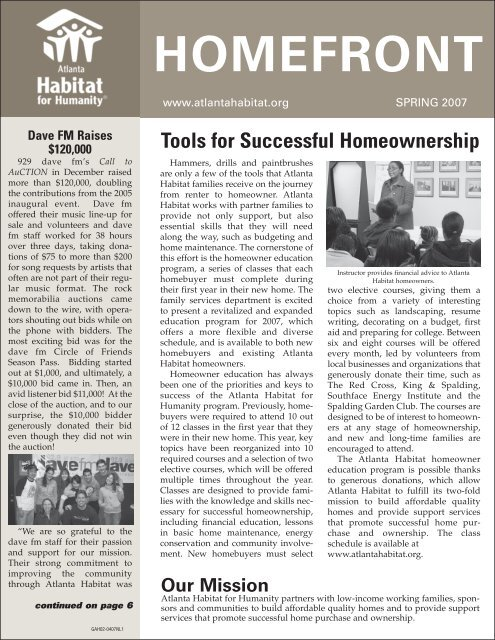 Spring 2007 Issue - Atlanta Habitat for Humanity