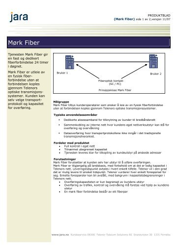 Produktblad Mørk Fiber - Jara - Telenor