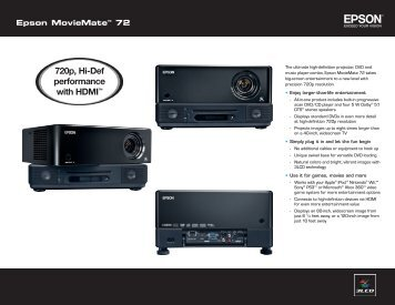 720p, Hi-Def performance with HDMI™ - Epson