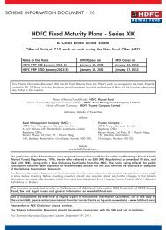 HDFC Fixed Maturity Plans - Series XIX - Securities and Exchange ...