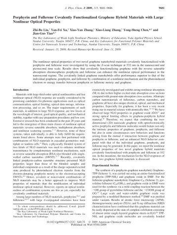 Porphyrin and Fullerene Covalently Functionalized Graphene ...