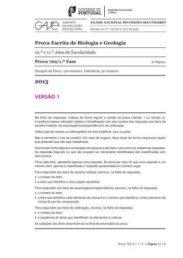 Prova Escrita de Biologia e Geologia VERSÃO 1
