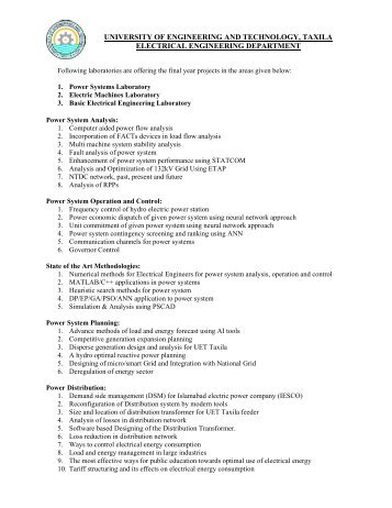 final year project thesis list - University of Engineering and ...
