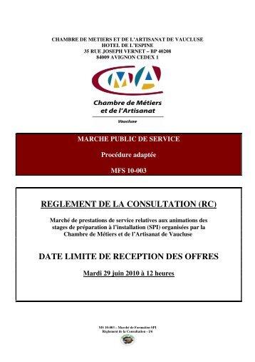 reglement de la consultation (rc) date limite de reception des offres