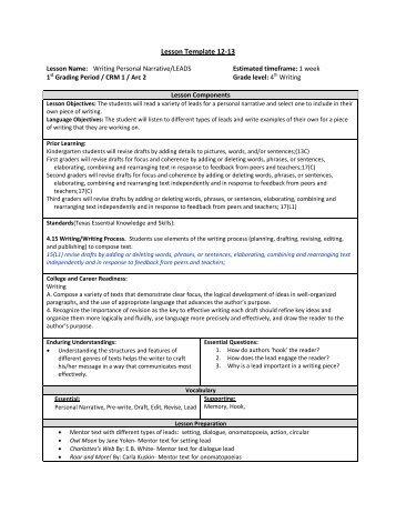 Lesson Template 12-13