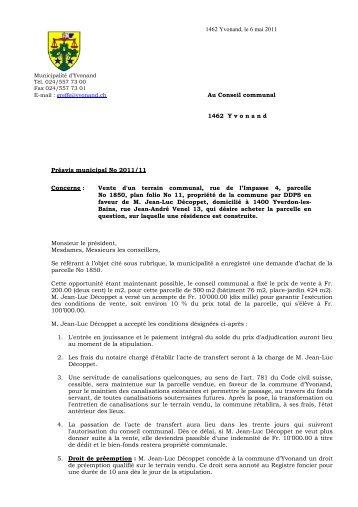 Préavis 2011/11 Vente d'un terrain communal, rue de l ... - Yvonand