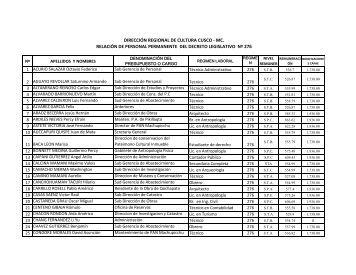 mc. relación de personal permanente del decreto legislativo nº 276