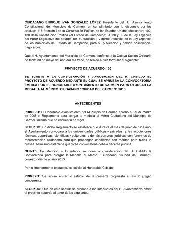 Acuerdo 100 del 30 de mayo del 2013 - H. Ayuntamiento de Carmen