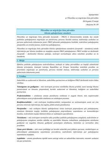 PMLP klientu apkalpošanas standarts - Pilsonības un migrācijas ...