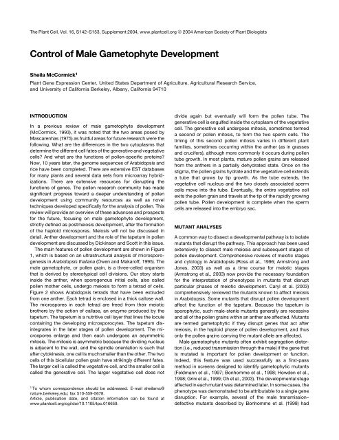 Control of Male Gametophyte Development