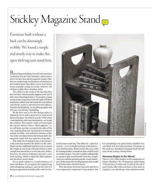 Stickley Magazine Stand - Popular Woodworking Magazine