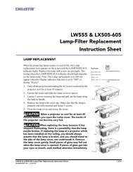 Christie LW555, LX505 and LX605 Lamp Filter Replacement ...