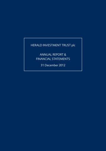 HERALD INVESTMENT TRUST plc ANNUAL REPORT ...