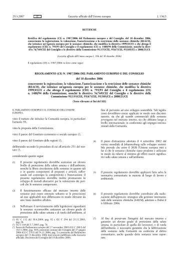 REGOLAMENTO (CE) N. 1907/2006 DEL PARLAMENTO ... - Reach