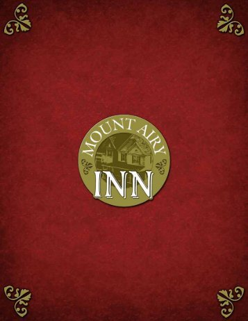 Download Our Menu - Mount Airy Inn