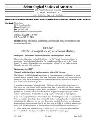 Tip Sheet 2002 updated - Seismological Society of America