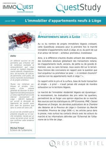 L'immobilier d'appartements neufs à Liège - DataQuest