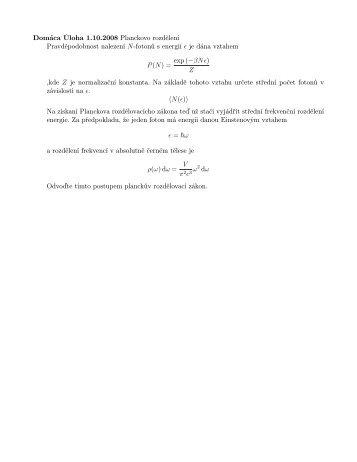 Kvantová Teorie 2008, zima