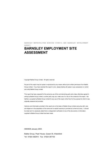 BMBC 16: Barnsley Employment Site Assessment Feb 2003