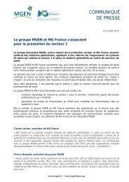 Le groupe MGEN et MG France s'associent pour la promotion du ...