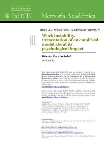 Work instability. Presentation of an empirical model about its ...
