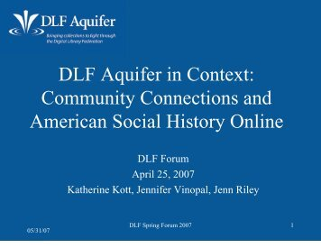 DLF Aquifer: Bringing Collections to Light - Digital Library ...