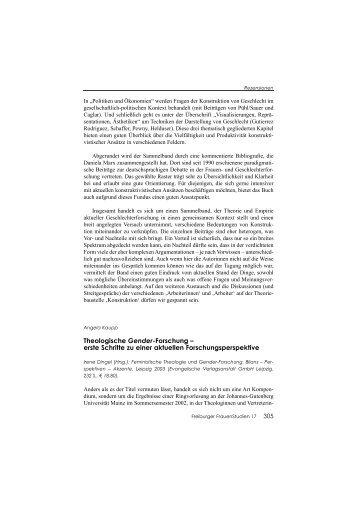 Theologische Gender-Forschung - ZAG der Universität Freiburg