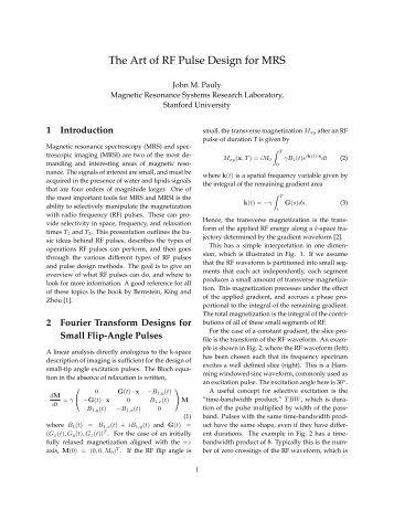 The Art of RF Pulse Design for MRS