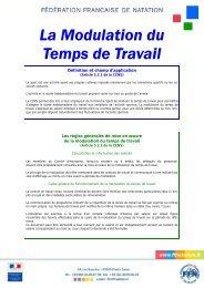 La modulation du temps de travail - Fédération Française de Natation