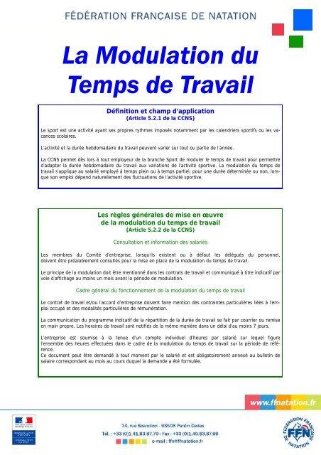 La Modulation Du Temps De Travail Fa C Da C Ration Frana Aise De Natation