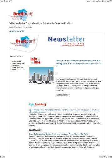 19/03/2013 Newsletter N°21 - Bruitparif