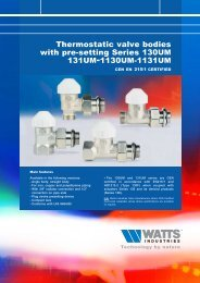 Thermostatic valve bodies with presetting Series ... - Watts Industries