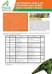 les engrais verts de légumineuses semés sous couvert en bio