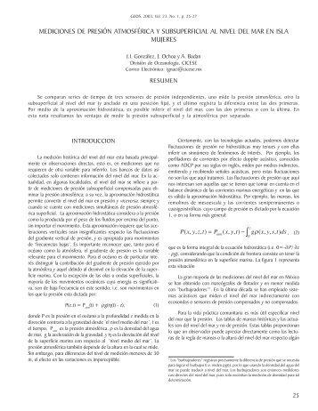 Mediciones de presión atmosférica y subsuperficial al nivel del mar ...