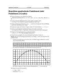 Repetition quadratische Funktionen (oder Funktionen 2.Grades)