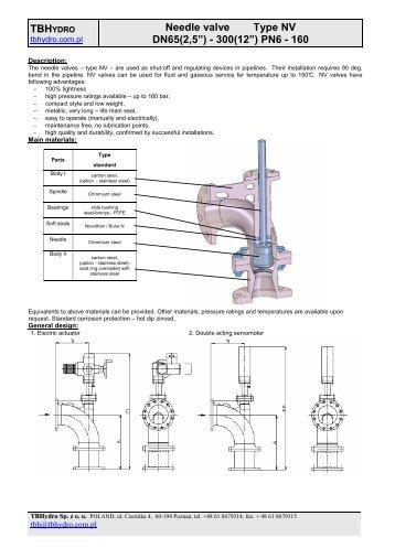 "TBH Needle valve Type NV DN65(2,5"") - 300(12"") PN6 - 160"