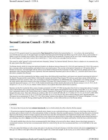 Second Lateran Council - 1139 A.D. - Laikos