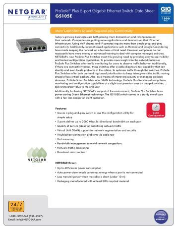 ProSafe® Plus 5-port Gigabit Ethernet Switch Data Sheet ... - Netgear