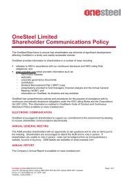 OneSteel Limited Shareholder Communications Policy