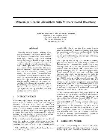 Combining Genetic Algorithms with Memory Based Reasoning