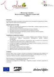 Offre de stage ‐ Chambéry Mission d'assistance ... - Loire Solidaires