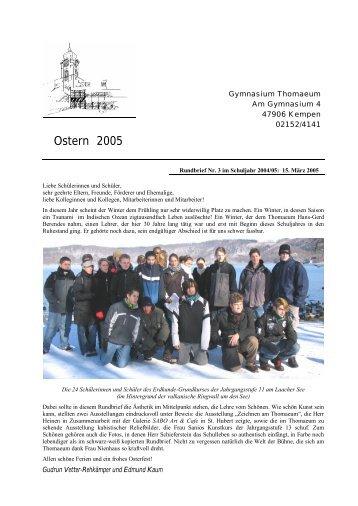 Rundbrief 3 Ostern 2005 Bild - Gymnasium Thomaeum Kempen