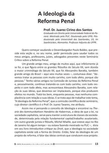 A Ideologia da Reforma Penal - Emerj
