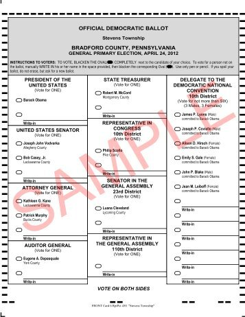 official democratic ballot bradford county, pennsylvania