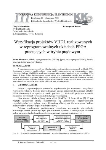 Weryfikacja projektów VHDL realizowanych w ... - kik - Koszalin