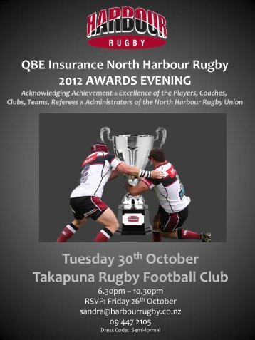 QBE Insurance North Harbour Rugby 2012 AWARDS EVENING